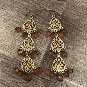 Banana Republic Gold Beaded Chandelier Earrings